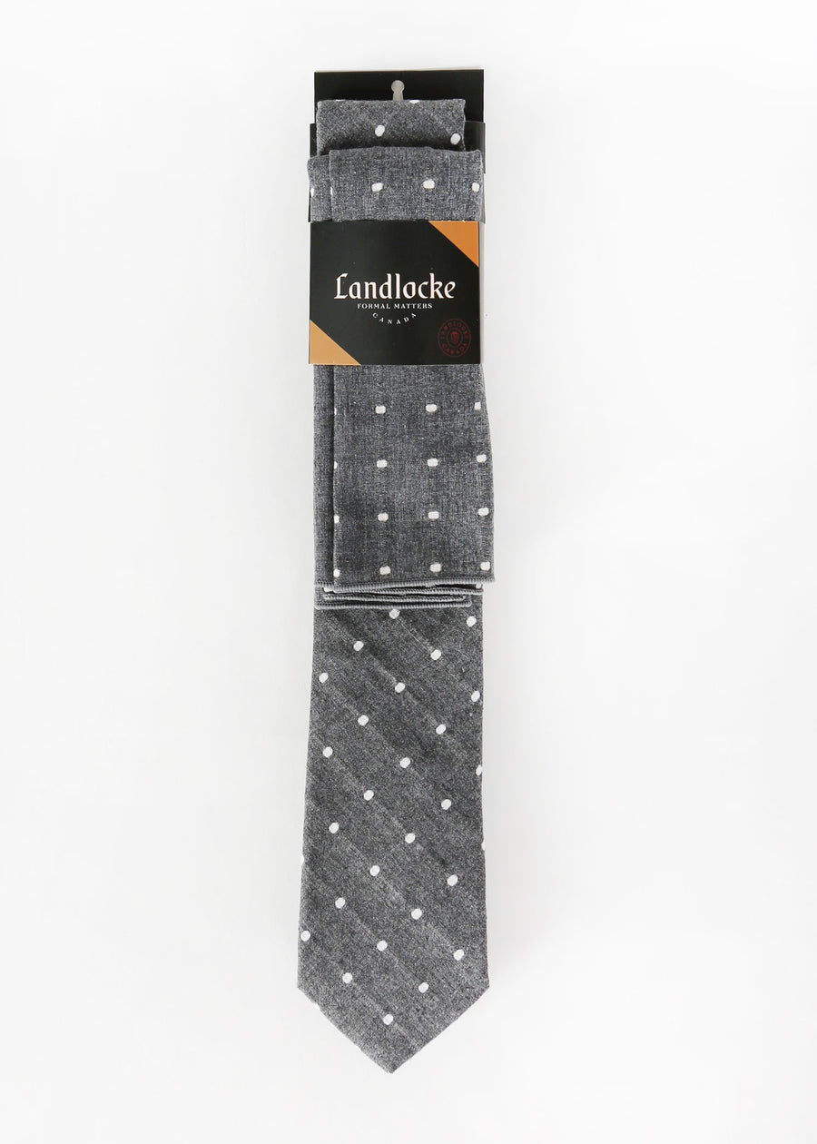 Landlocke - Dobby Dot Tie & Pocket Square, Ties & Pocket Squares, Landlocke Formal Matters, Hardpressed Print Studio