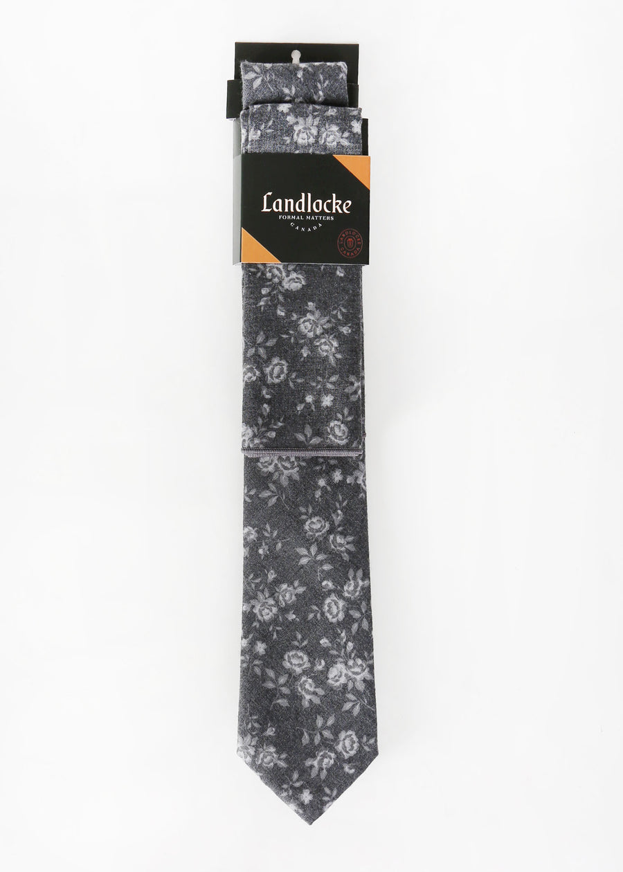 Landlocke - Ghost Flower Tie & Pocket Square, Ties & Pocket Squares, Landlocke Formal Matters, Hardpressed Print Studio