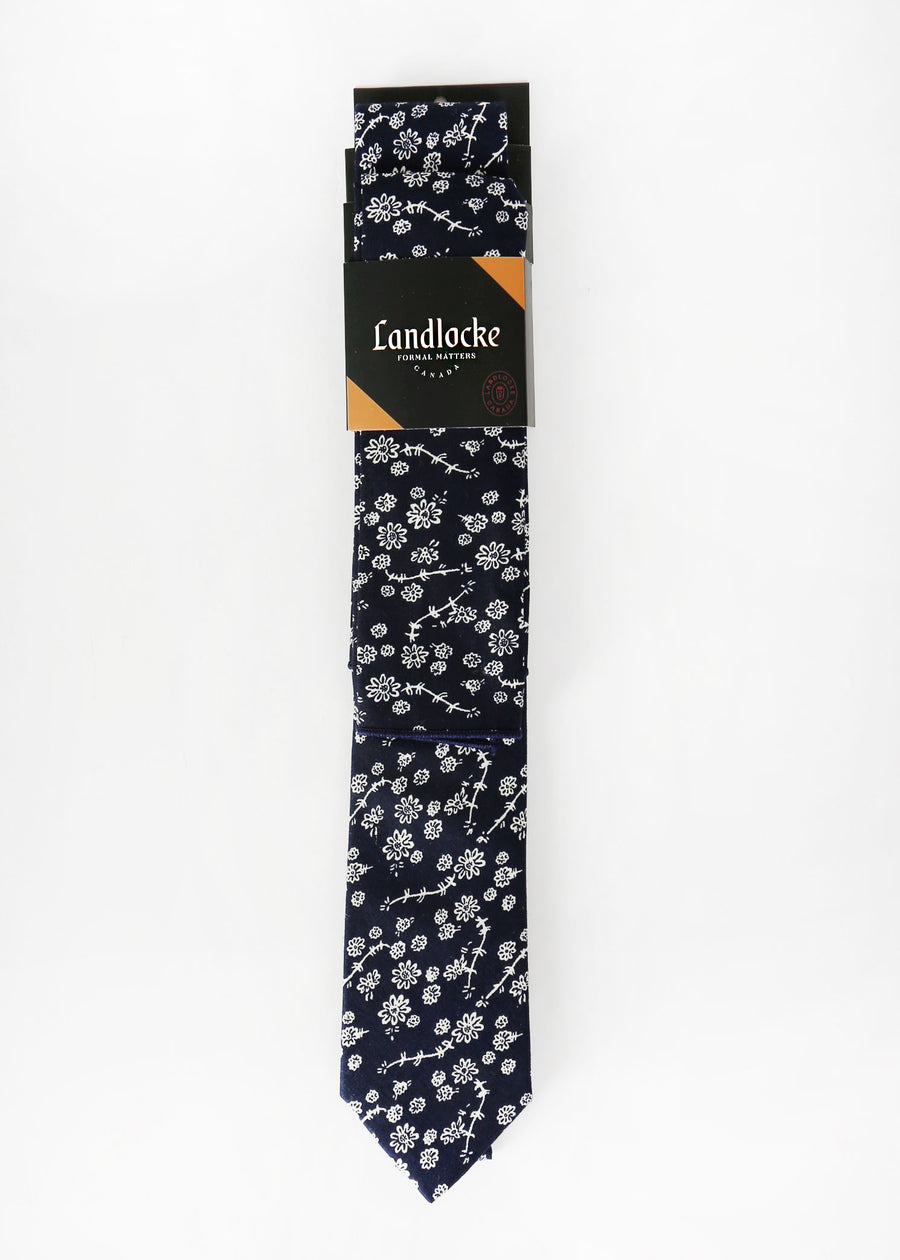Landlocke - Indigold Tie & Pocket Square, Ties & Pocket Squares, Landlocke Formal Matters, Hardpressed Print Studio