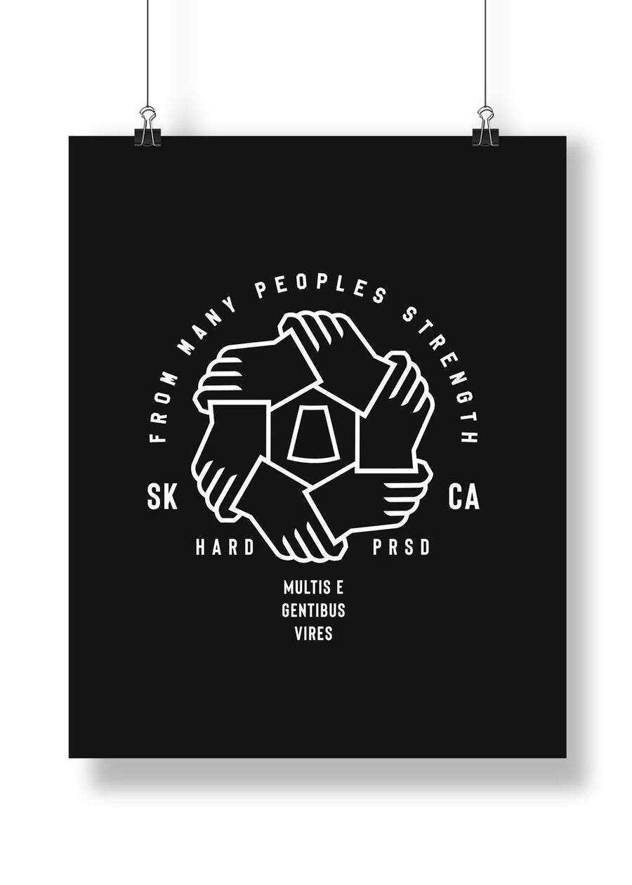 Many Peoples Strength Poster Print | Black