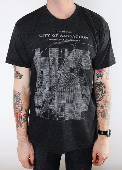 City of Saskatoon Map Tee v2 | Tri-Black | Unisex and Ladies - Hardpressed Print Studio