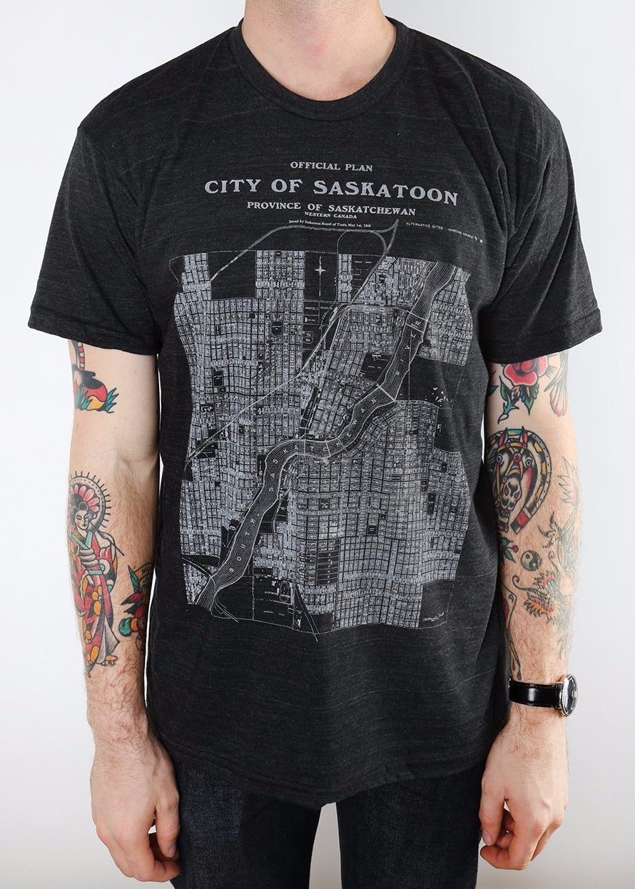 City of Saskatoon Map Tee v2 | Tri-Black | Unisex and Ladies