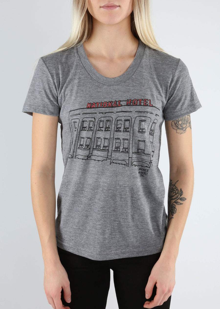 Prince Albert National Hotel Tee | Tri-Grey | Unisex and Ladies, Shirts, Hardpressed Print Studio, Hardpressed Print Studio