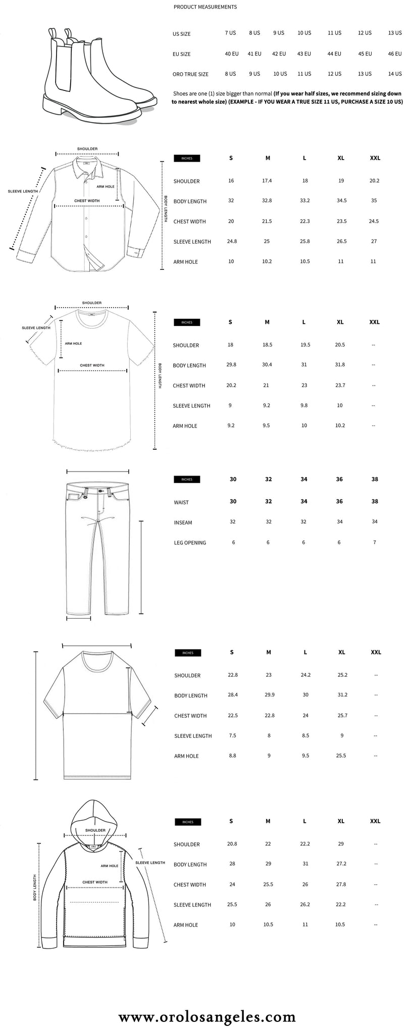 Oro Los Angeles Size Guide.