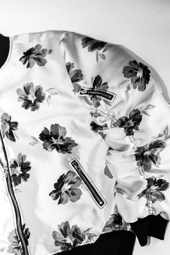 THE SILVER FLORAL BOMBER JACKET