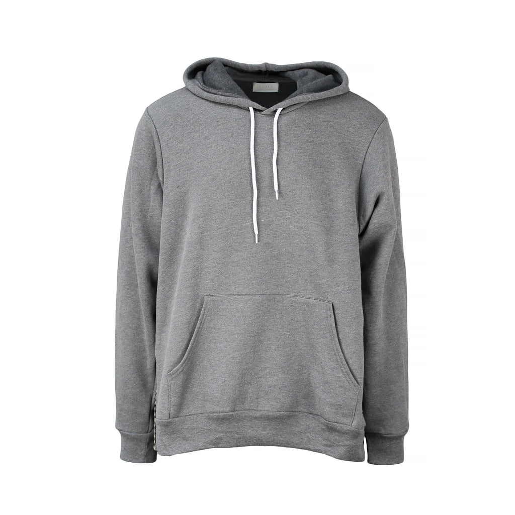 THE GRAY SIDE-ZIP HOODIE - ORO Los Angeles