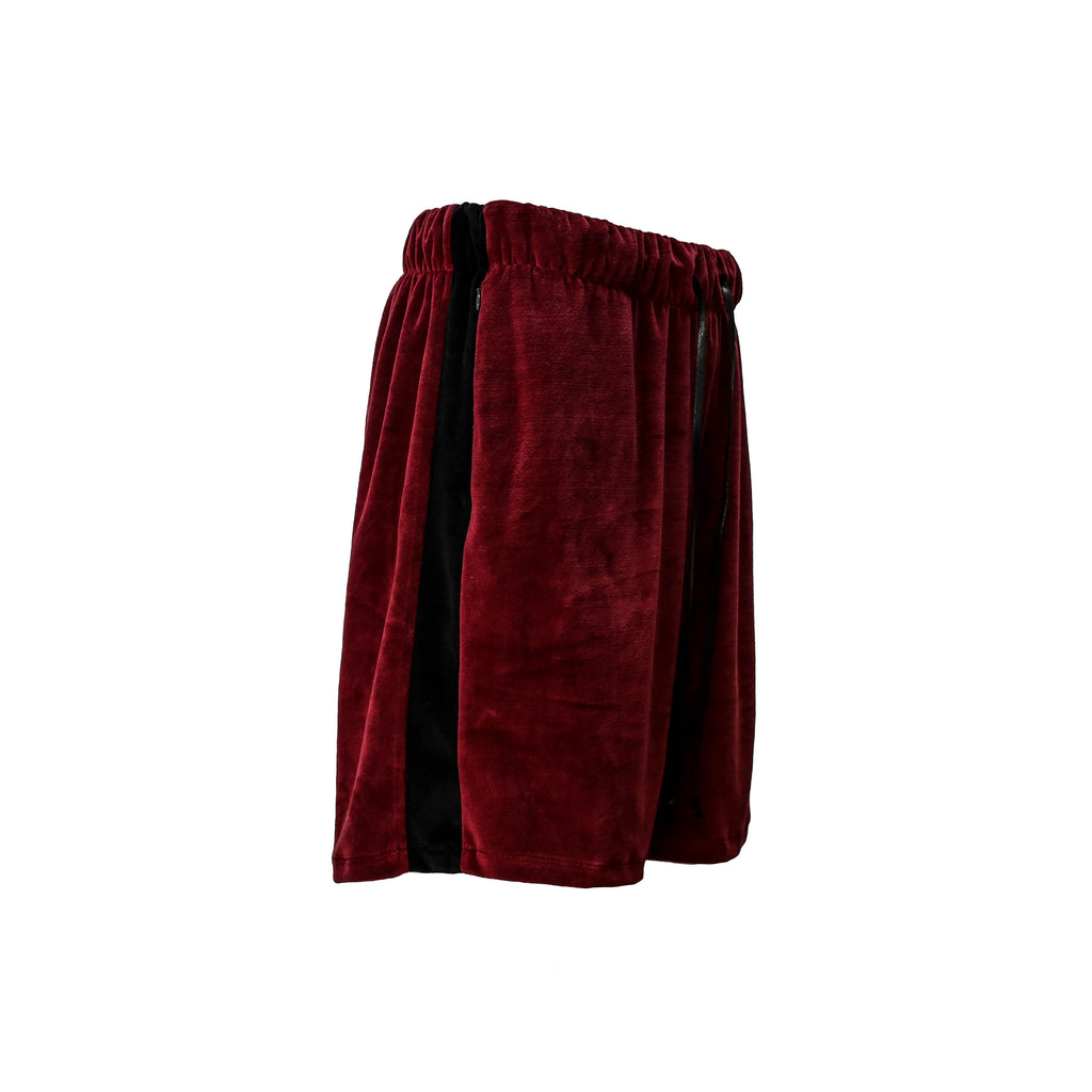 THE RED RETRO VELOUR SHORTS