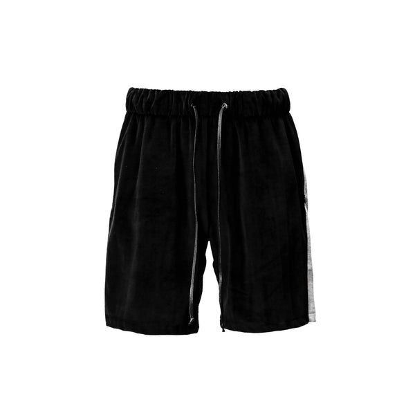 THE BLACK RETRO VELOUR SHORTS