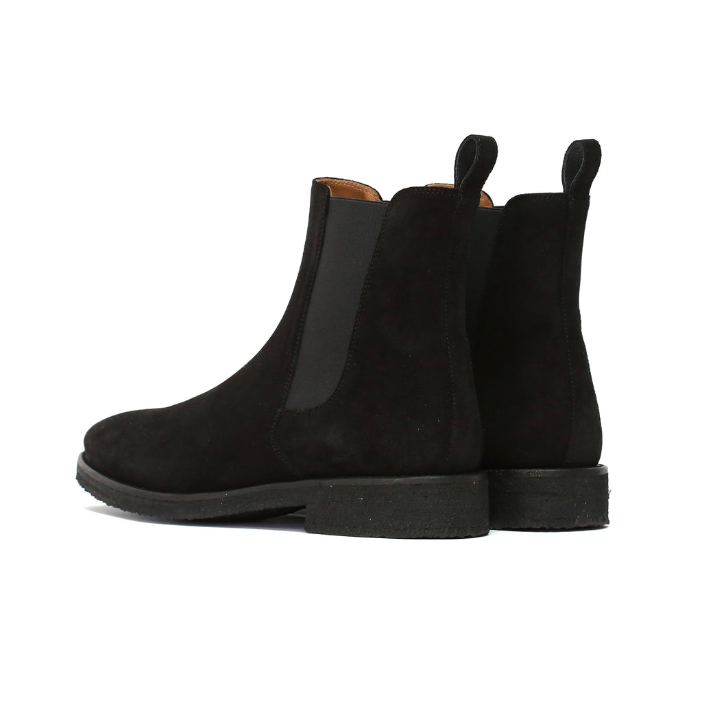 THE JET BLACK CREPE CHELSEA BOOTS