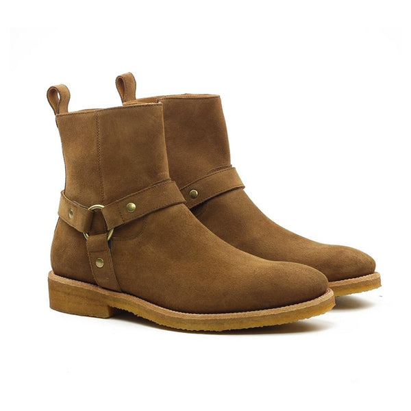 THE COGNAC WES-HARNESS BOOTS
