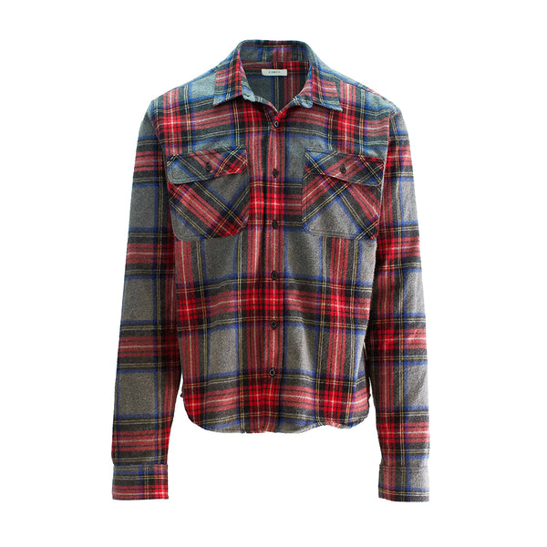 THE STAR CROPPED BRUSH PLAID SHIRT