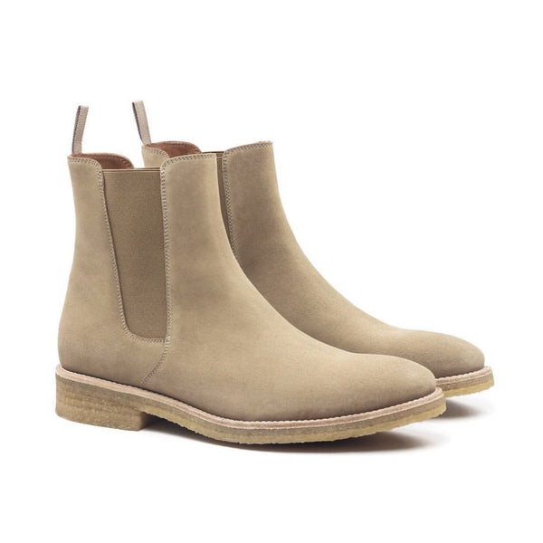 THE TAUPE CREPE CHELSEA BOOTS