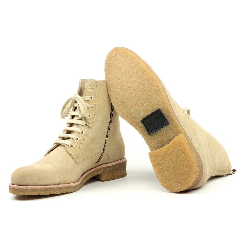 THE BEIGE CREPE COMBAT BOOTS - ORO Los Angeles - 2