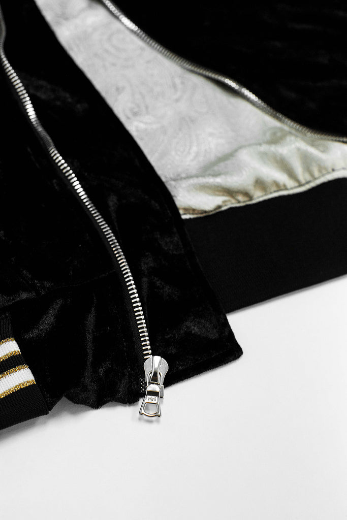 THE BLACK VARSITY BOMBER JACKET