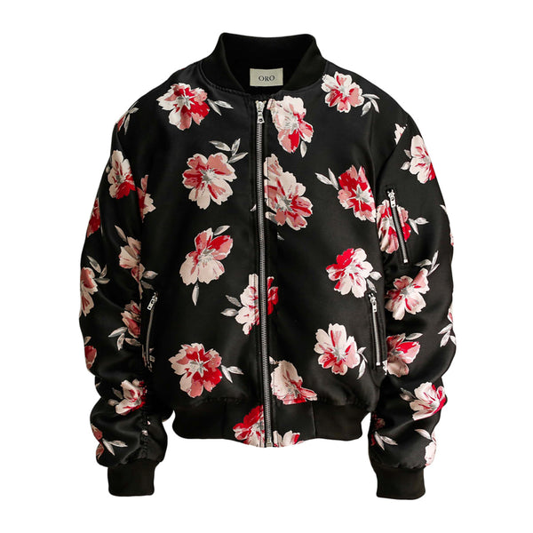 THE RED FLORAL BOMBER JACKET