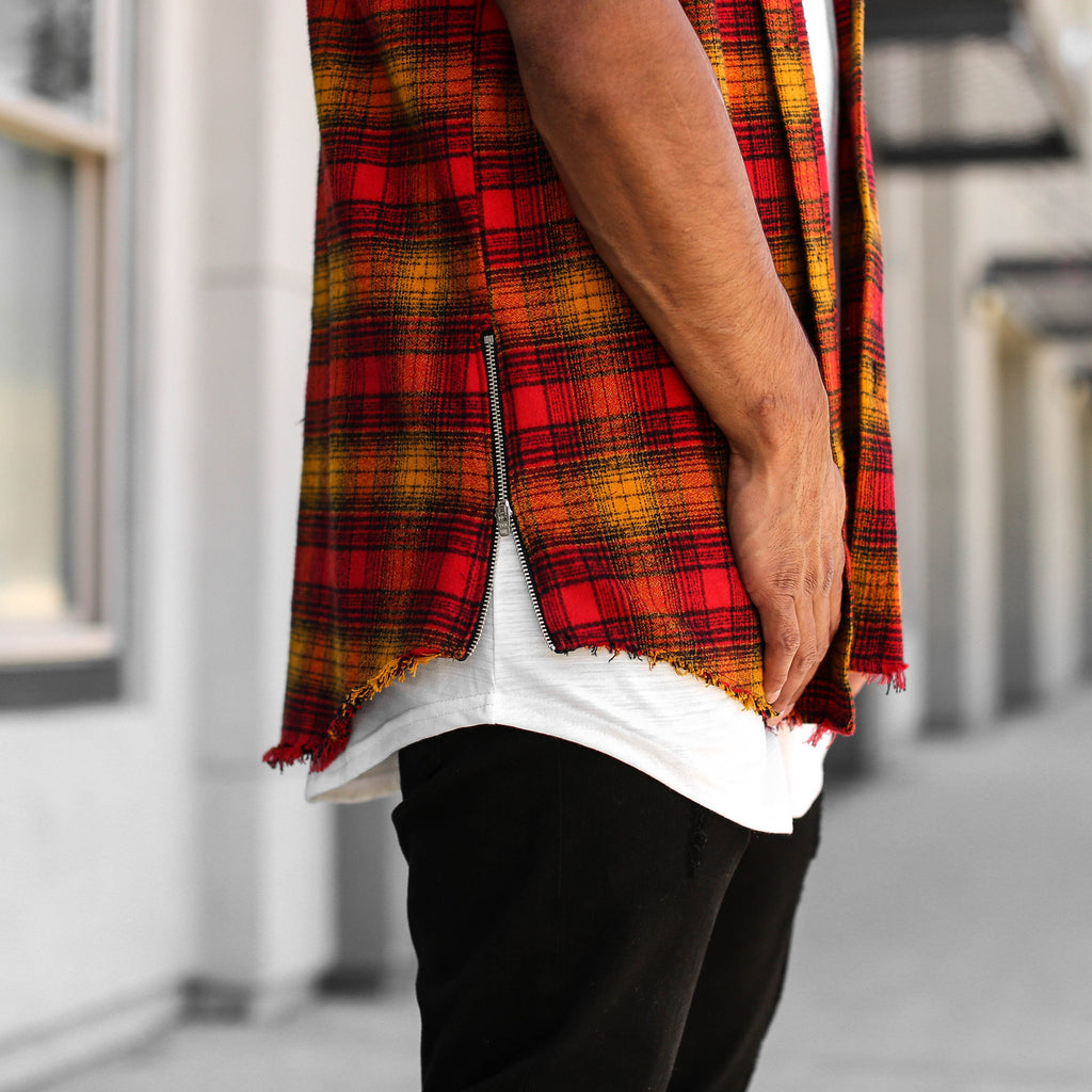 S/S REDWOOD PLAID CUTOFF