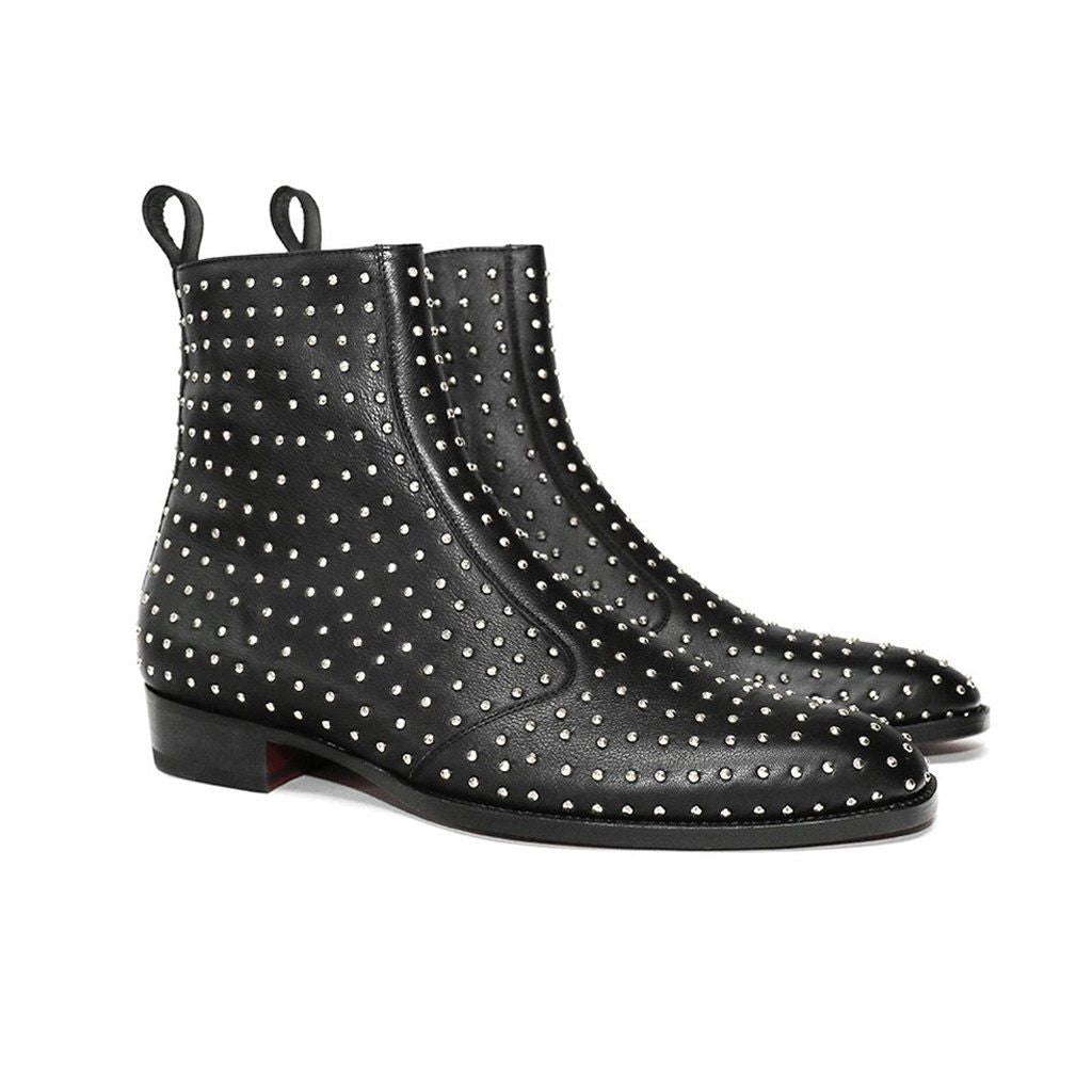 THE MILAN STUDDED LEATHER ZIPUP BOOTS