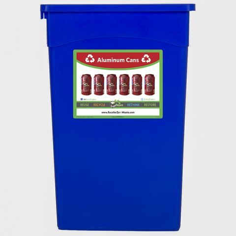 23 Gallon Slim Jim Recycling Container With Label - My Green Purpose