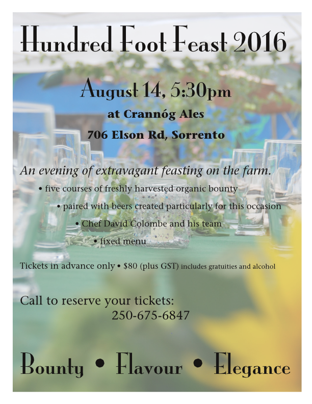 100' Feast August 14, 2016 - SOLD OUT