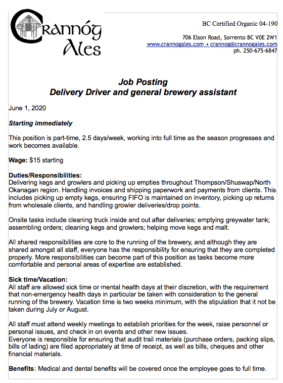 Job available: delivery driver