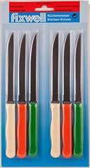 Fixwell Steak Knives 6pc Set Multicolor Handles