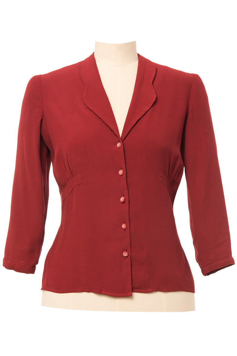 Vintage & Retro Shirts, Halter Tops, Blouses Balboa 40s Blouse Brick Red €89.00 AT vintagedancer.com