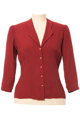 Balboa 40s Blouse Brick Red