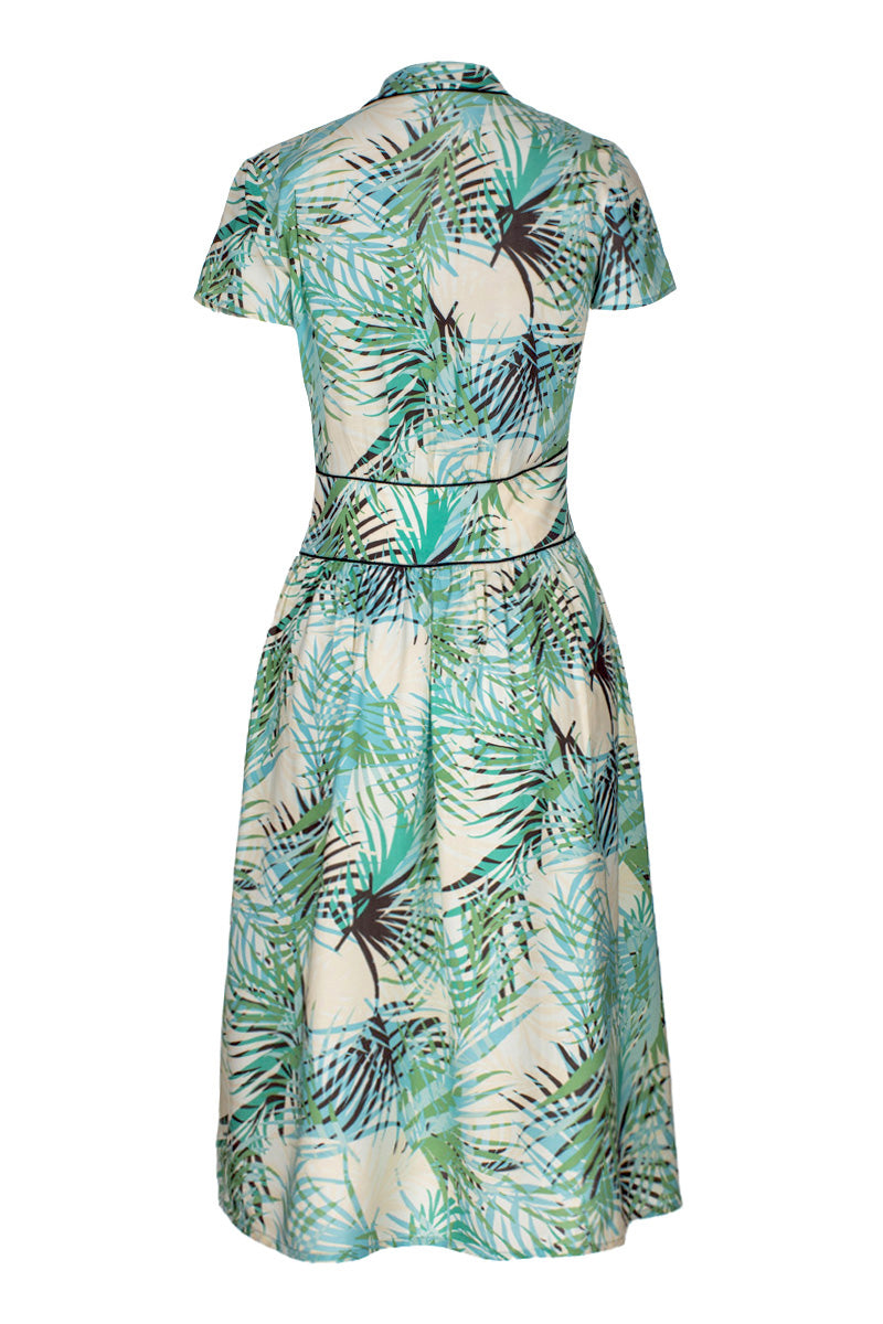 Dina 40's Dress Palm Print