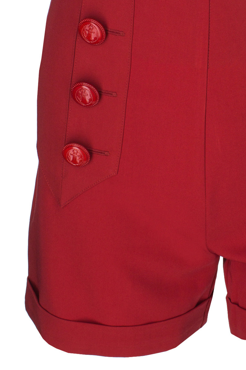 1940s style high waisted red sailor pants anchor buttons