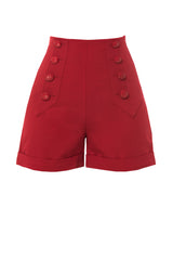 1940s style high waisted red sailor shorts front