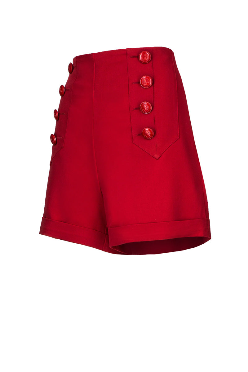 1940s style high waisted red sailor pants side