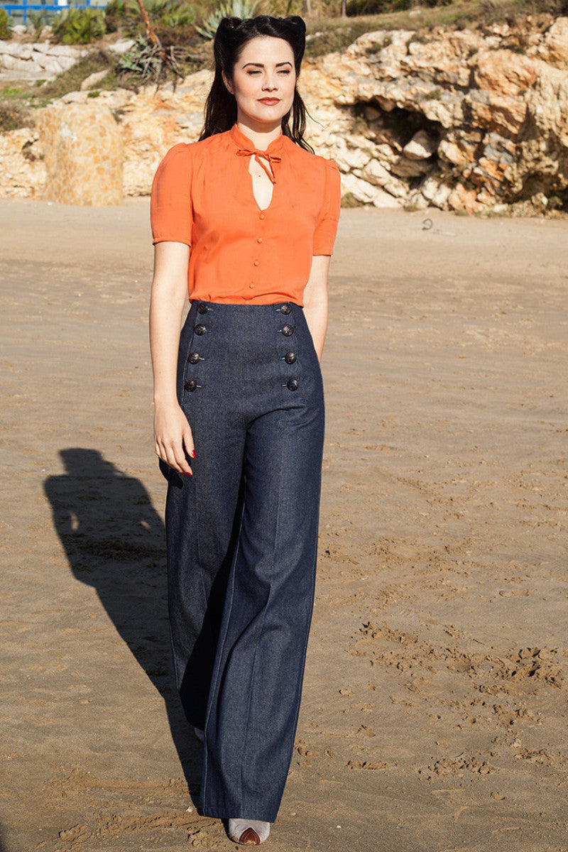 1940s Style Pants & Overalls- Wide Leg, High Waist Sailor Pants Denim €98.00 AT vintagedancer.com