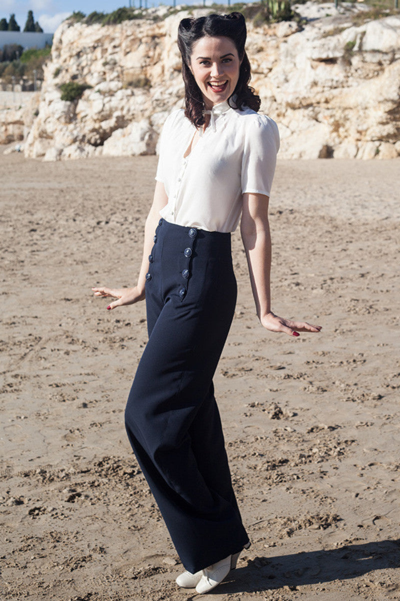 1940s Style Pants & Overalls- Wide Leg, High Waist Sailor Pants Navy €82.00 AT vintagedancer.com