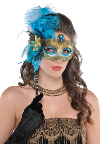 Mask Turq Black Feather Stick