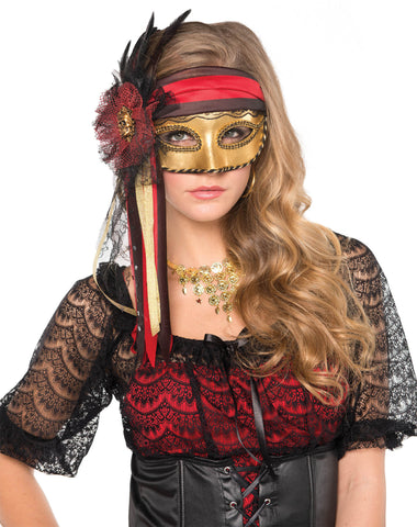 Mask Pirate Lady ribbon BLK/Red/Gold