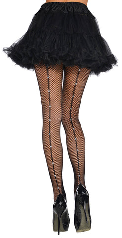 Fishnet Stockings Crystal Backseam BLK