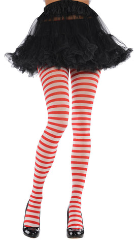 Tights Red/White Stripe