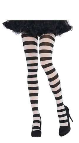 Tights BLK/White Wide Stripe STD