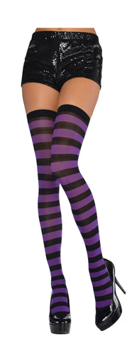 Thigh Highs Puple/Black Wide Striped