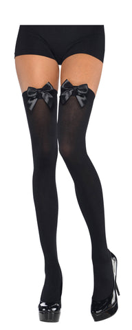Thigh Highs Black w/Black Bow STD