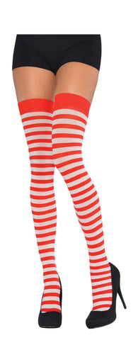Thigh Highs Red/White Striped STD