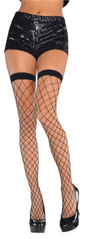 Thigh Highs BLK Big Diamond Net STD