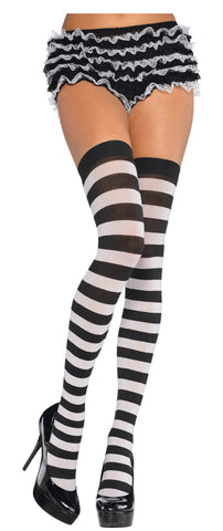 Thigh Highs BLK/White Wide Striped STD