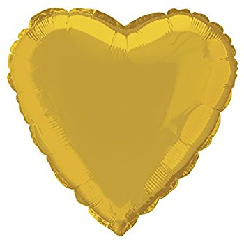 "18"" Mylar Heart Gold (Empty) #011"