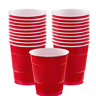 Cup Plastic 12oz Apple Red
