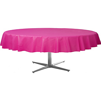 Tablecover  Plastic Round Bright Pink