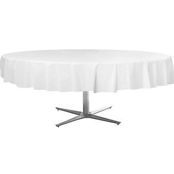 Tablecover  Plastic Round Frosty White