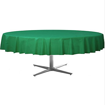 Tablecover  Plastic Round Festive Green