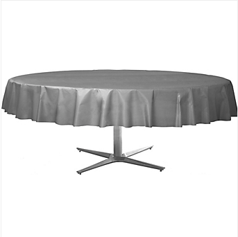 Tablecover  Plastic Round Silver