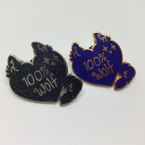 *100% wolf hard enamel pin